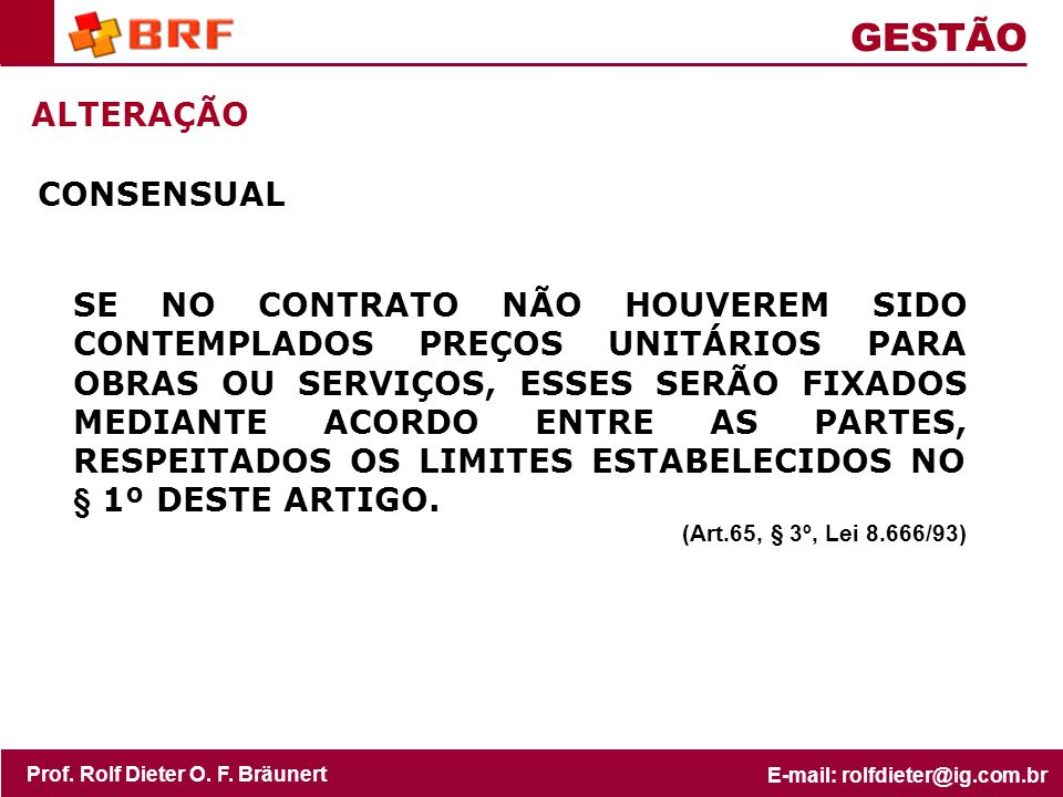 GESTÃO ALTERAÇÃO CONSENSUAL