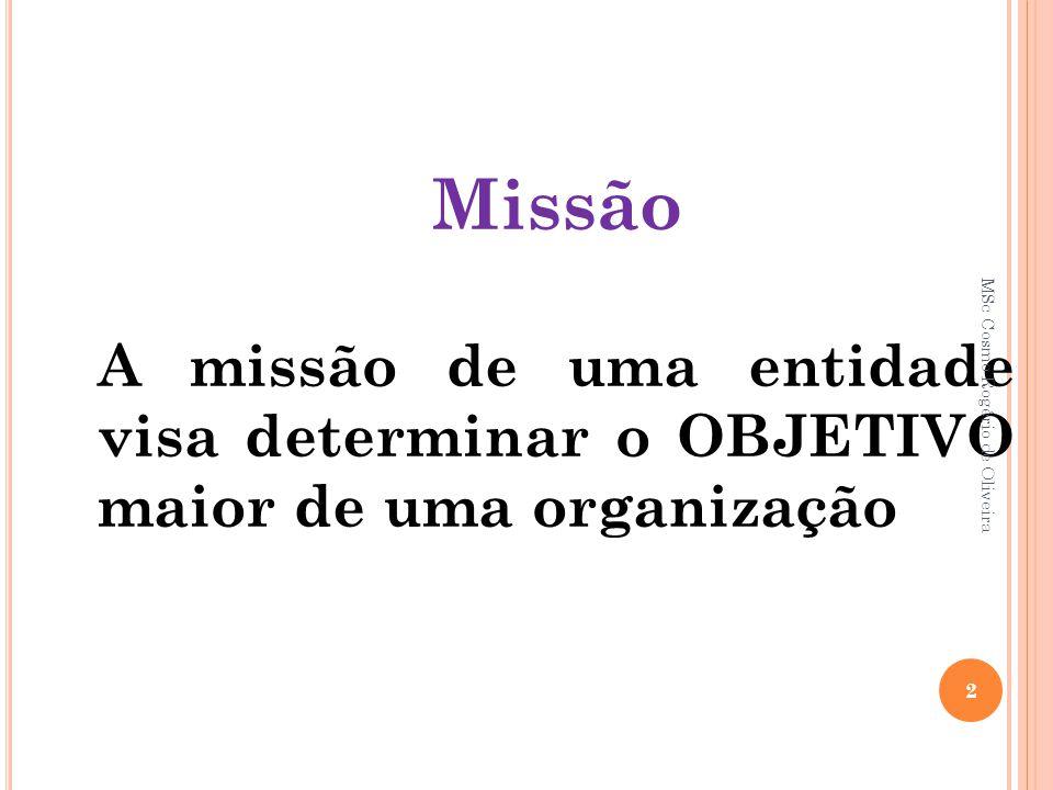 Missão A missão de uma entidade visa determinar o OBJETIVO maior de uma organização.