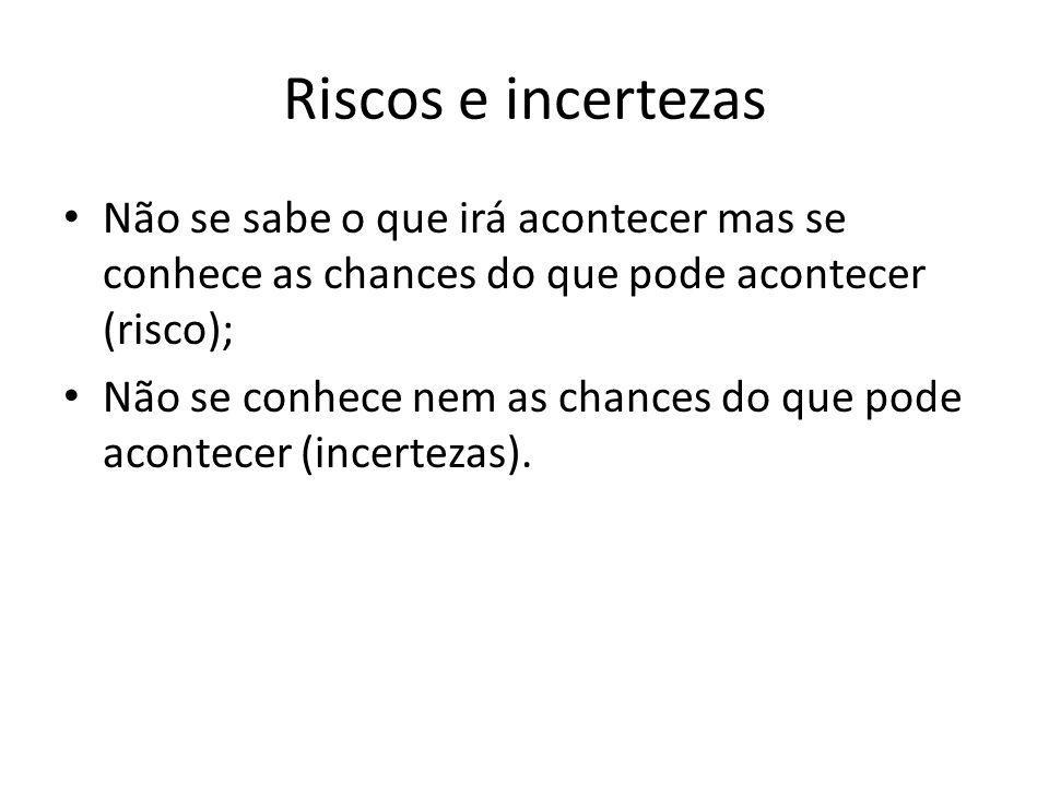 Riscos e incertezas Não se sabe o que irá acontecer mas se conhece as chances do que pode acontecer (risco);