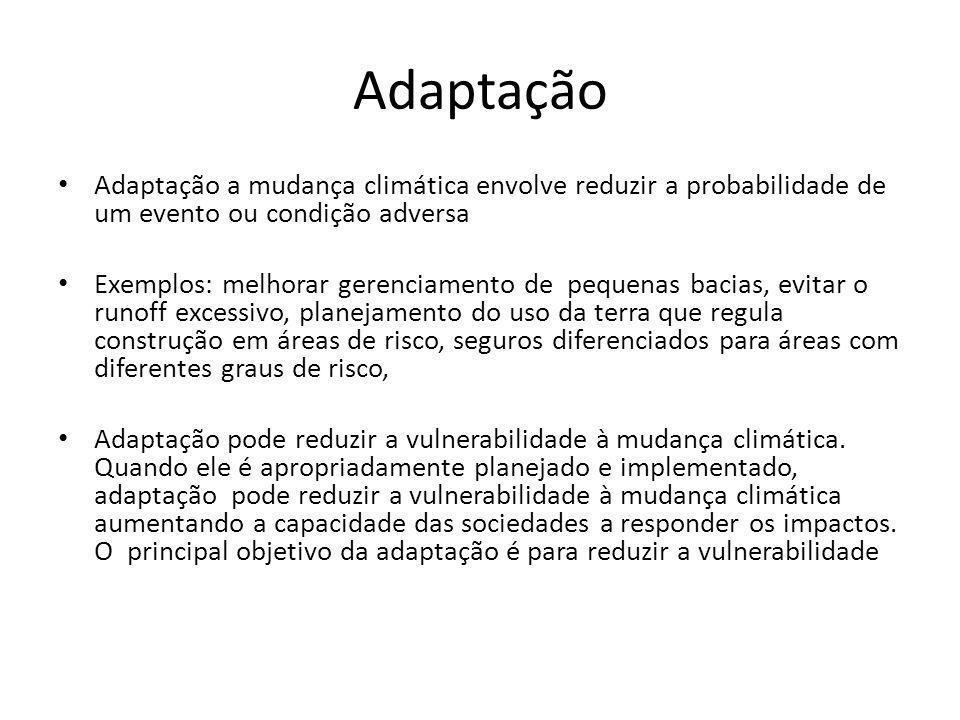 Adaptação Adaptação a mudança climática envolve reduzir a probabilidade de um evento ou condição adversa.