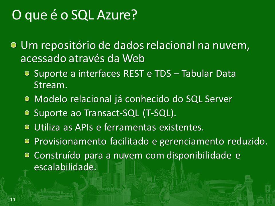 O que é o SQL Azure Um repositório de dados relacional na nuvem, acessado através da Web. Suporte a interfaces REST e TDS – Tabular Data Stream.