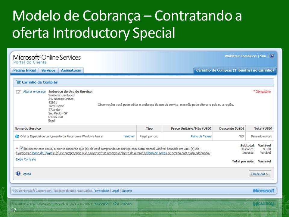 Modelo de Cobrança – Contratando a oferta Introductory Special