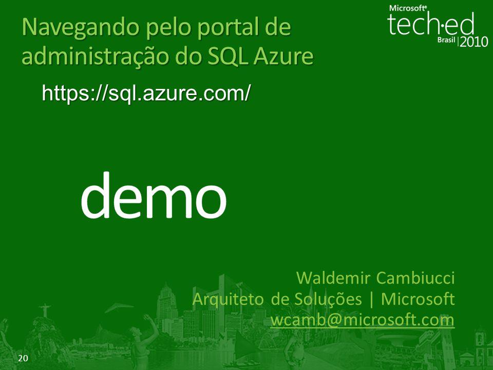Navegando pelo portal de administração do SQL Azure