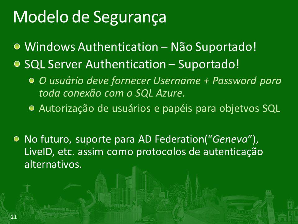 Modelo de Segurança Windows Authentication – Não Suportado!