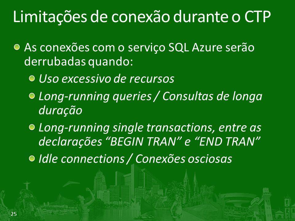 Limitações de conexão durante o CTP