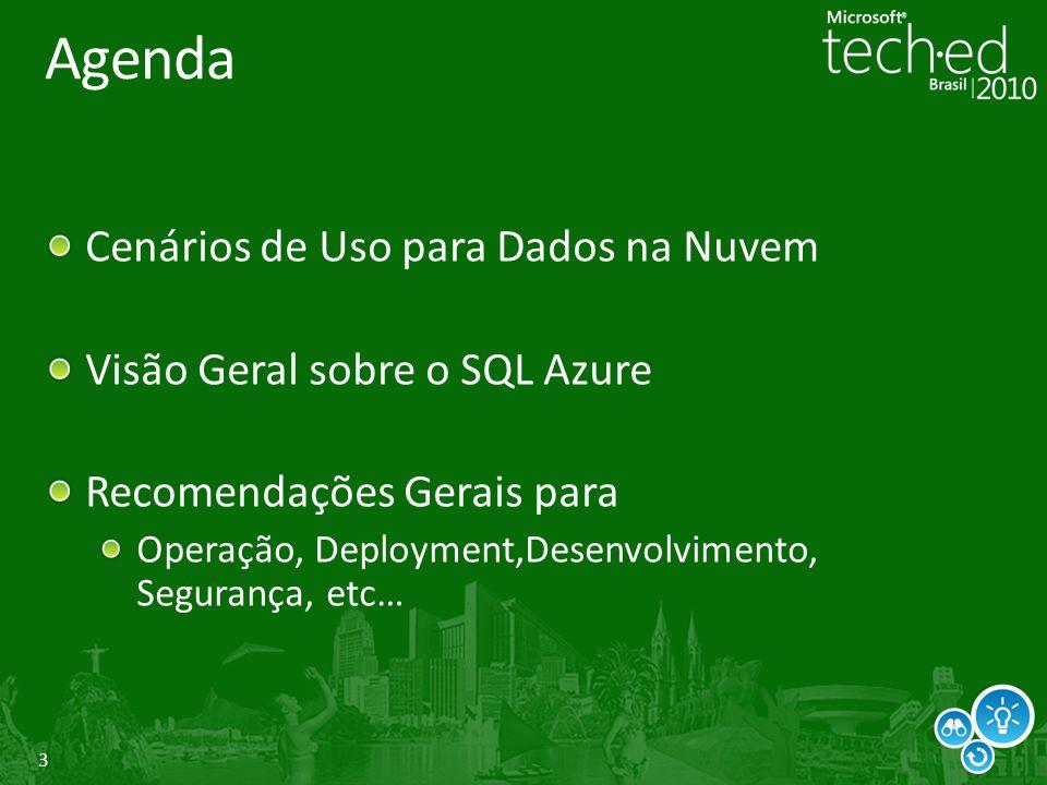 Agenda Cenários de Uso para Dados na Nuvem
