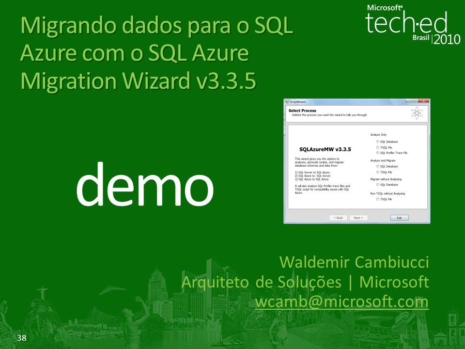 Migrando dados para o SQL Azure com o SQL Azure Migration Wizard v3. 3