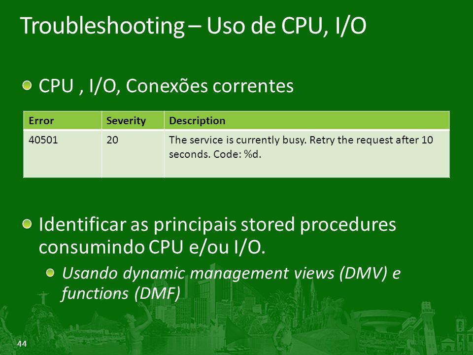 Troubleshooting – Uso de CPU, I/O