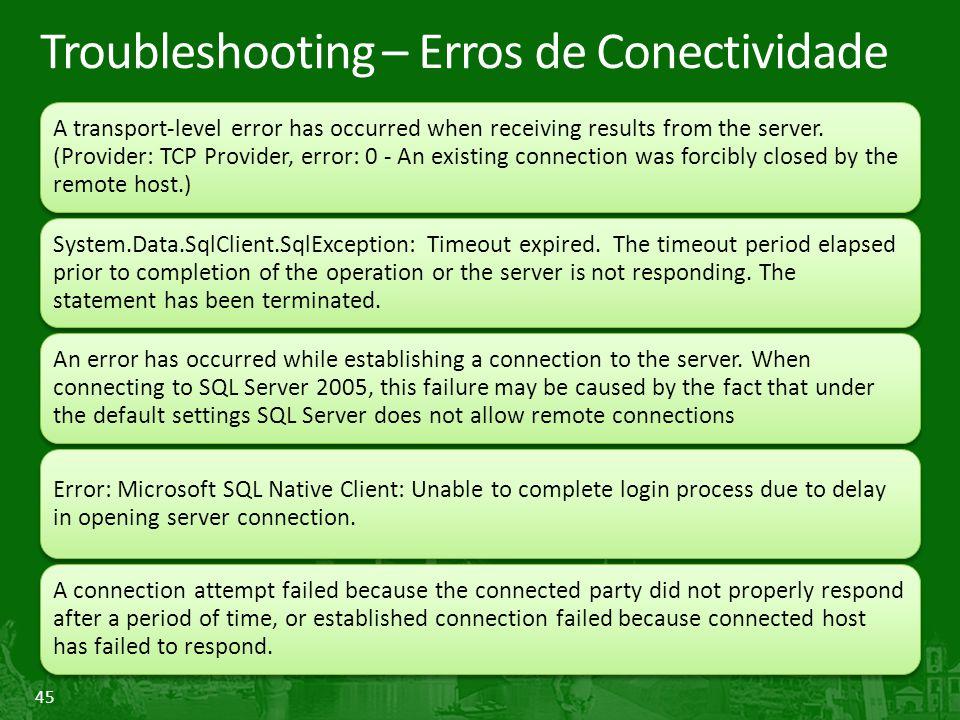 Troubleshooting – Erros de Conectividade