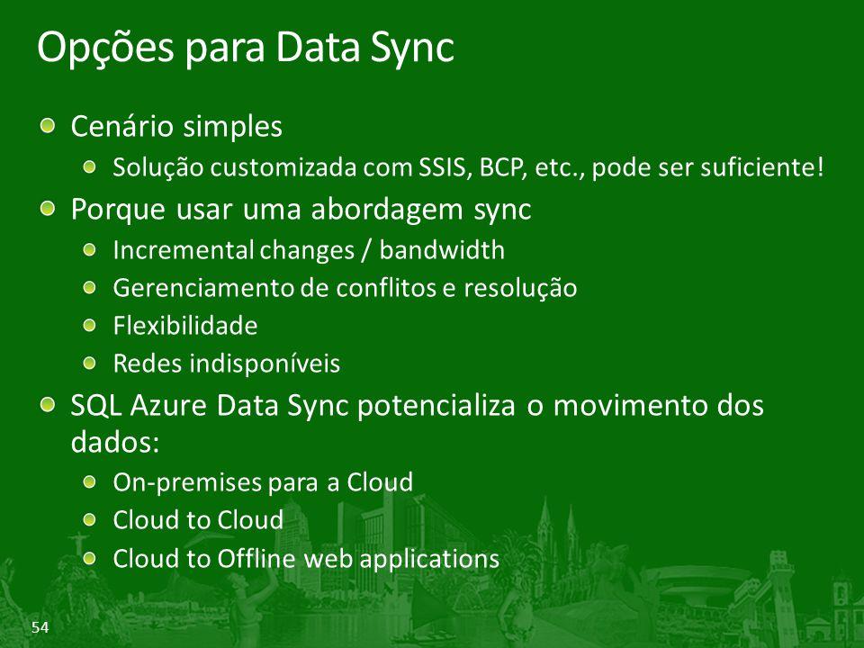 Opções para Data Sync Cenário simples Porque usar uma abordagem sync