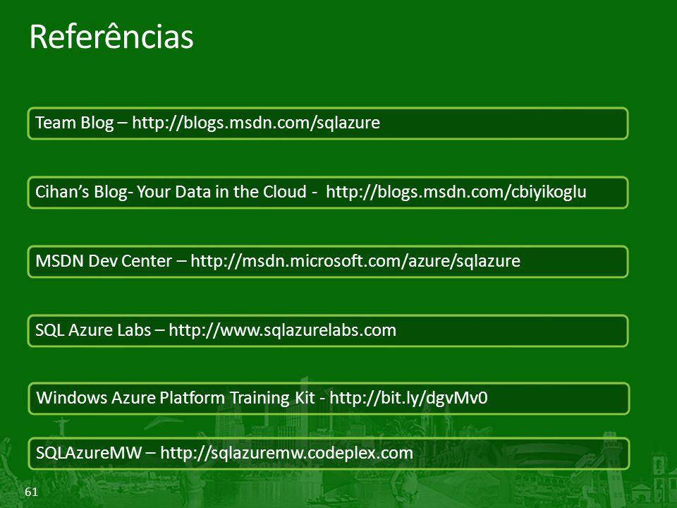 Referências Team Blog – http://blogs.msdn.com/sqlazure