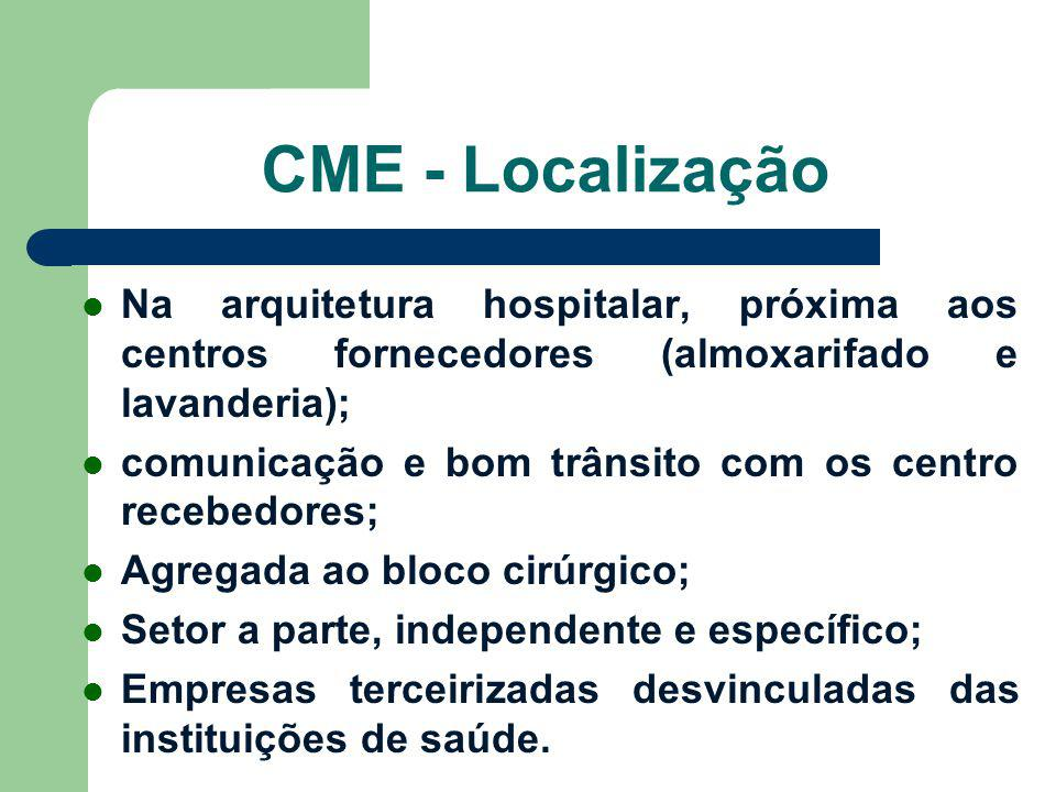 CME - Localização Na arquitetura hospitalar, próxima aos centros fornecedores (almoxarifado e lavanderia);