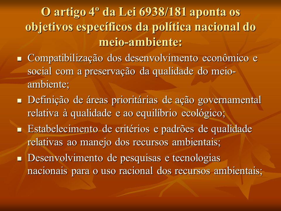 O artigo 4º da Lei 6938/181 aponta os objetivos específicos da política nacional do meio-ambiente: