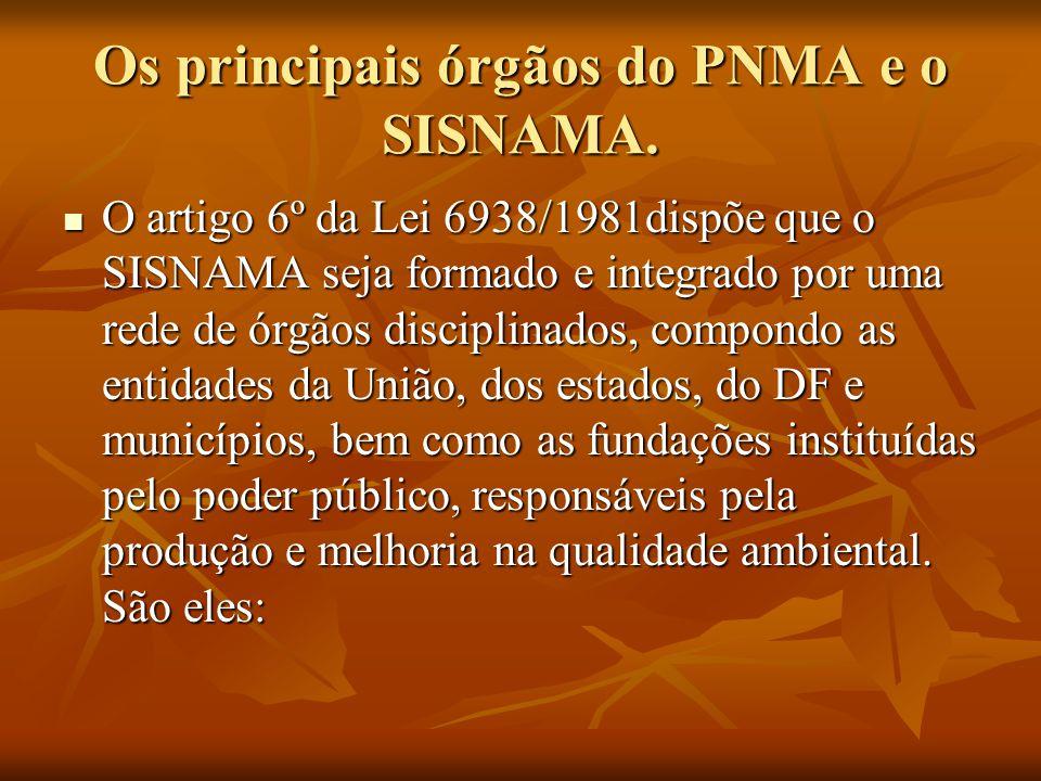 Os principais órgãos do PNMA e o SISNAMA.