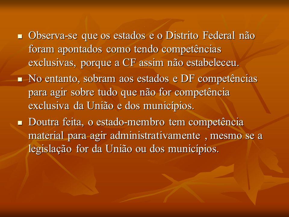 . Observa-se que os estados e o Distrito Federal não foram apontados como tendo competências exclusivas, porque a CF assim não estabeleceu.
