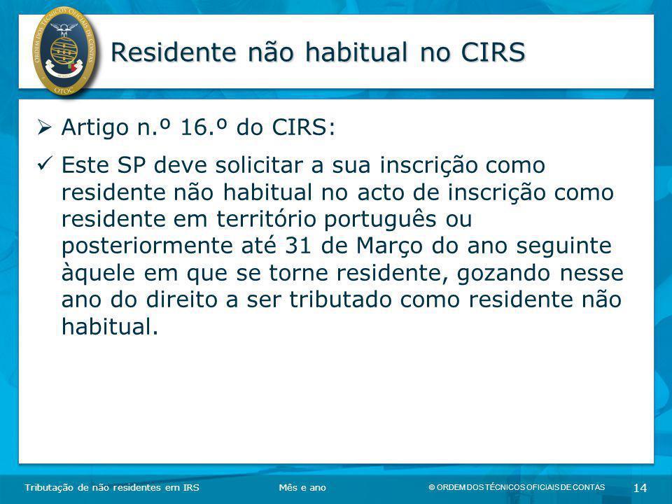 Residente não habitual no CIRS