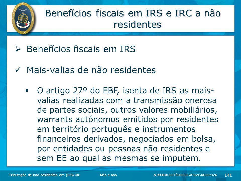 Benefícios fiscais em IRS e IRC a não residentes