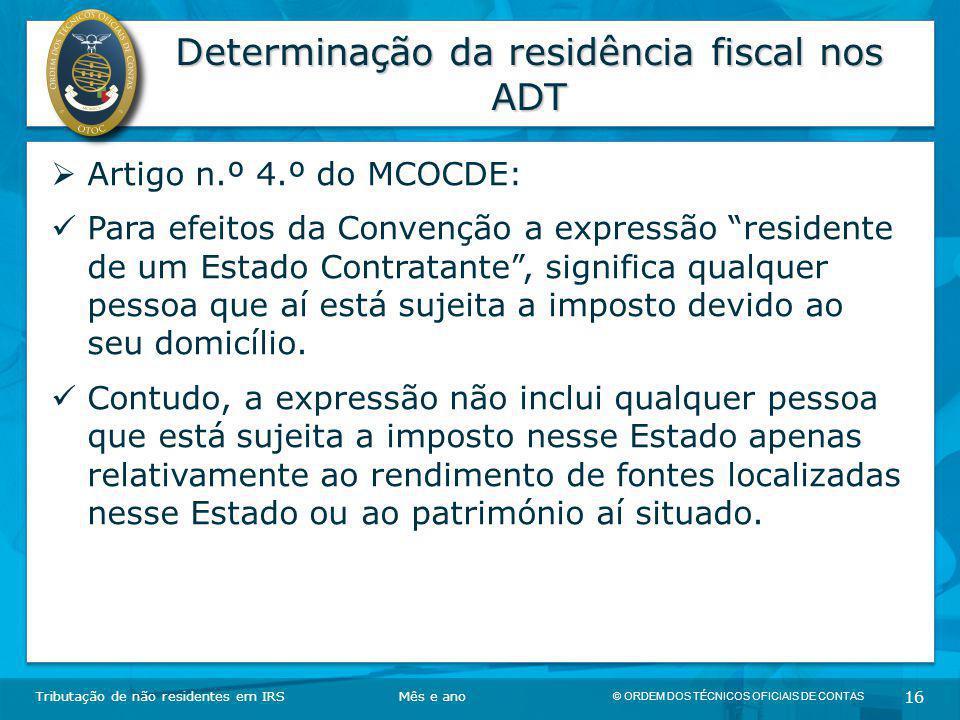 Determinação da residência fiscal nos ADT