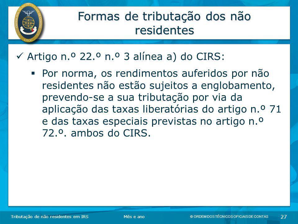 Formas de tributação dos não residentes