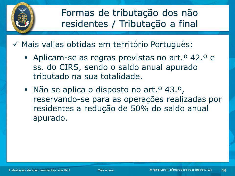 Formas de tributação dos não residentes / Tributação a final