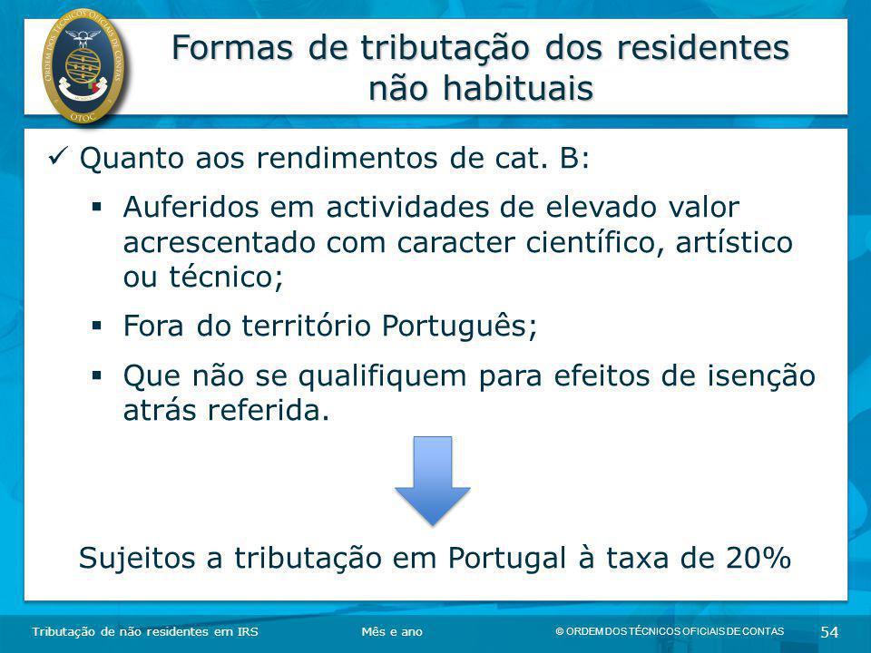 Formas de tributação dos residentes não habituais