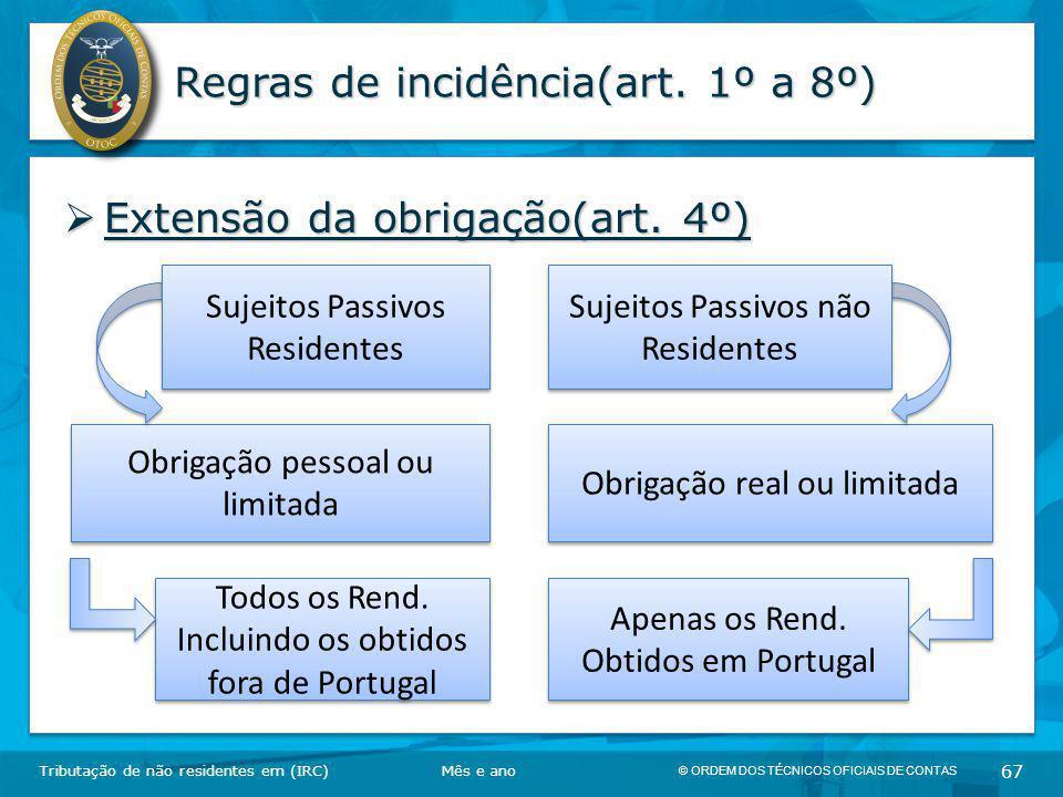 Regras de incidência(art. 1º a 8º)