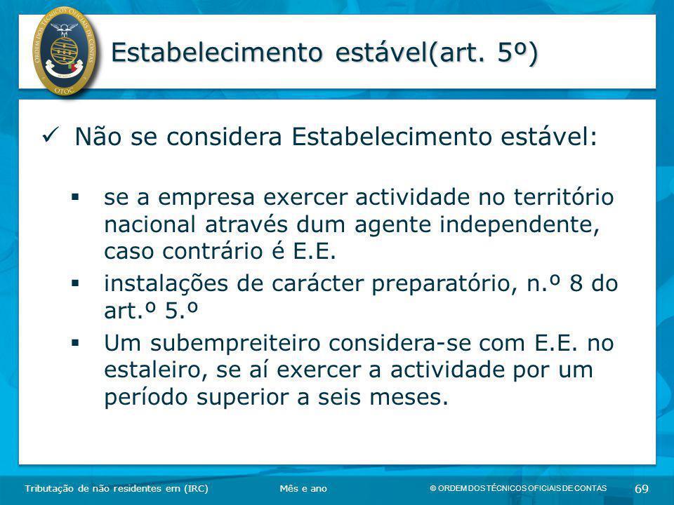 Estabelecimento estável(art. 5º)