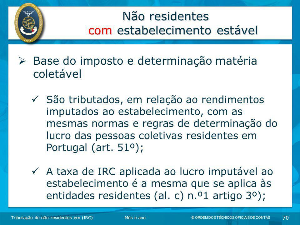Não residentes com estabelecimento estável