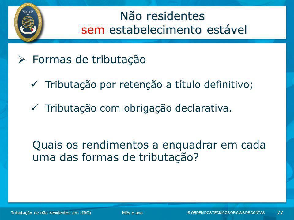 Não residentes sem estabelecimento estável