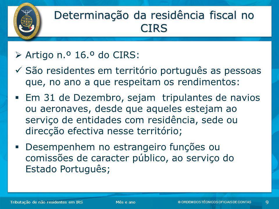 Determinação da residência fiscal no CIRS