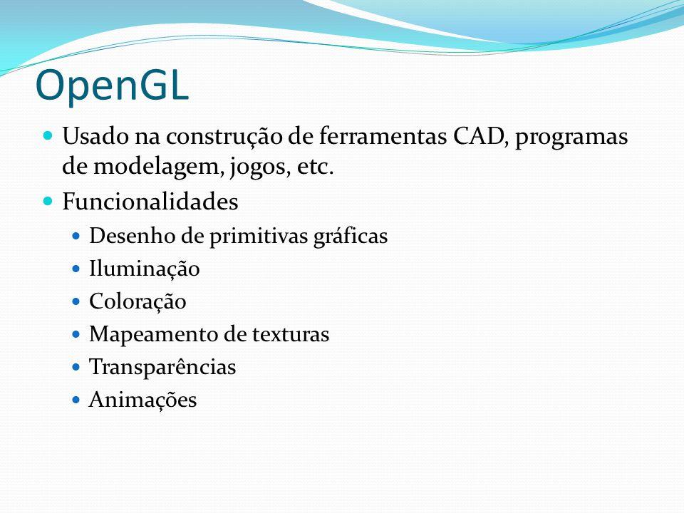 OpenGL Usado na construção de ferramentas CAD, programas de modelagem, jogos, etc. Funcionalidades.