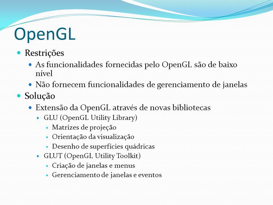 OpenGL Restrições Solução