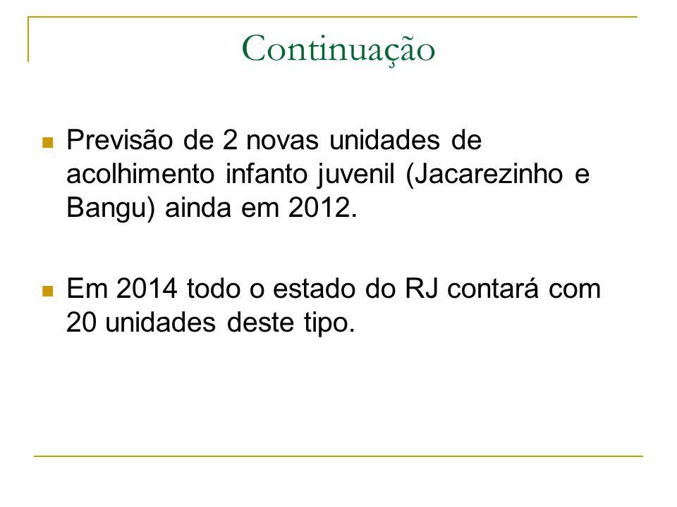 Continuação Previsão de 2 novas unidades de acolhimento infanto juvenil (Jacarezinho e Bangu) ainda em 2012.