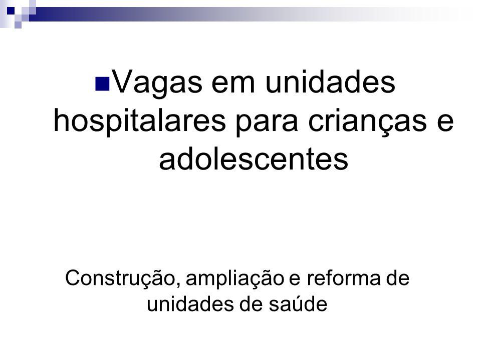 Construção, ampliação e reforma de unidades de saúde
