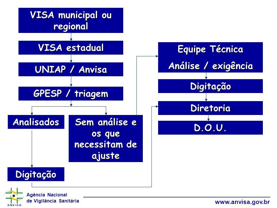 VISA municipal ou regional Sem análise e os que necessitam de ajuste