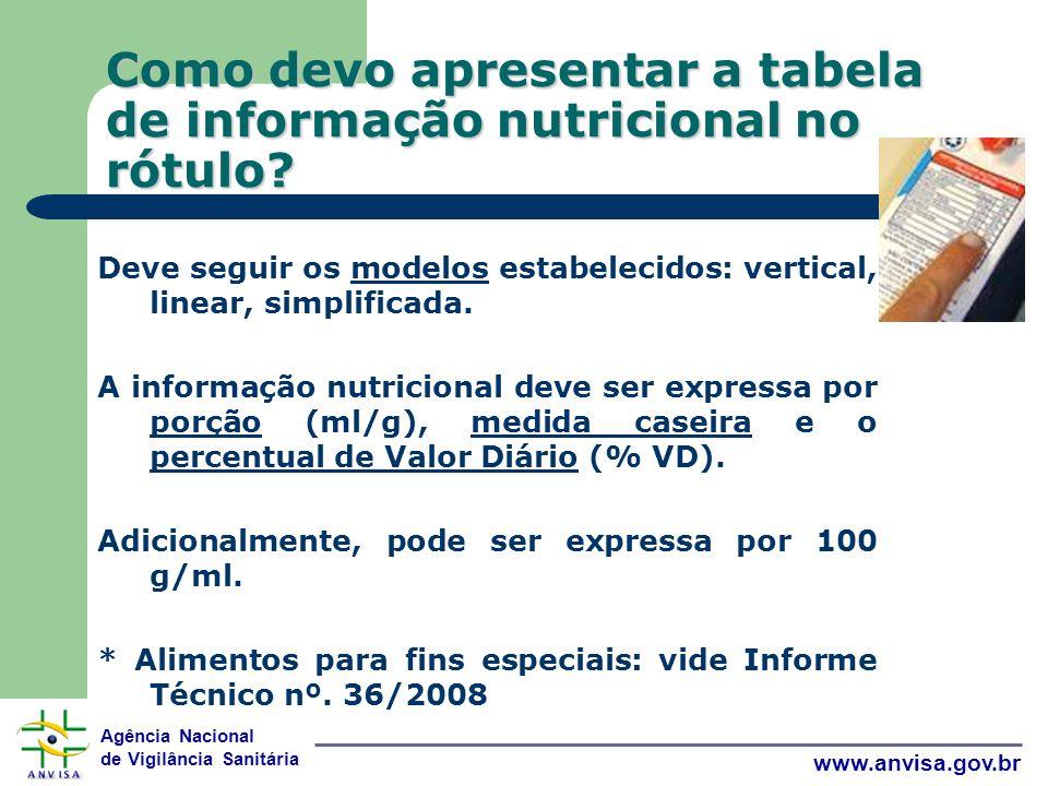 Como devo apresentar a tabela de informação nutricional no rótulo