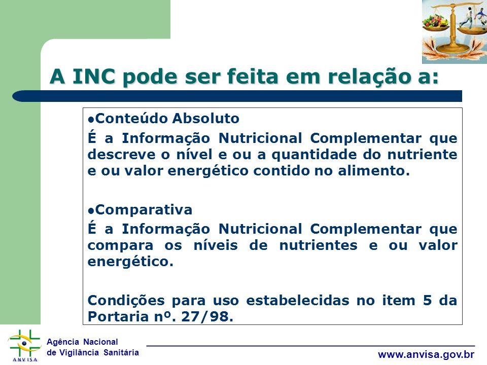 A INC pode ser feita em relação a: