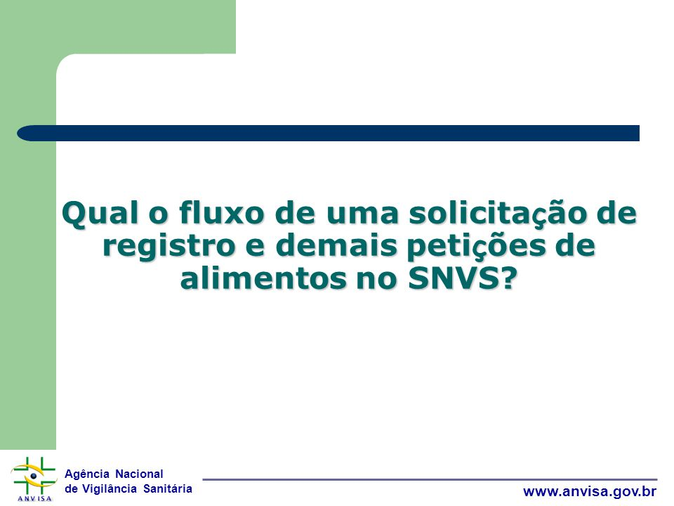 Qual o fluxo de uma solicitação de registro e demais petições de alimentos no SNVS