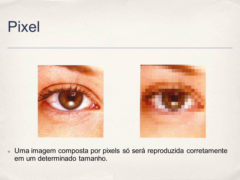 Pixel Uma imagem composta por pixels só será reproduzida corretamente em um determinado tamanho.