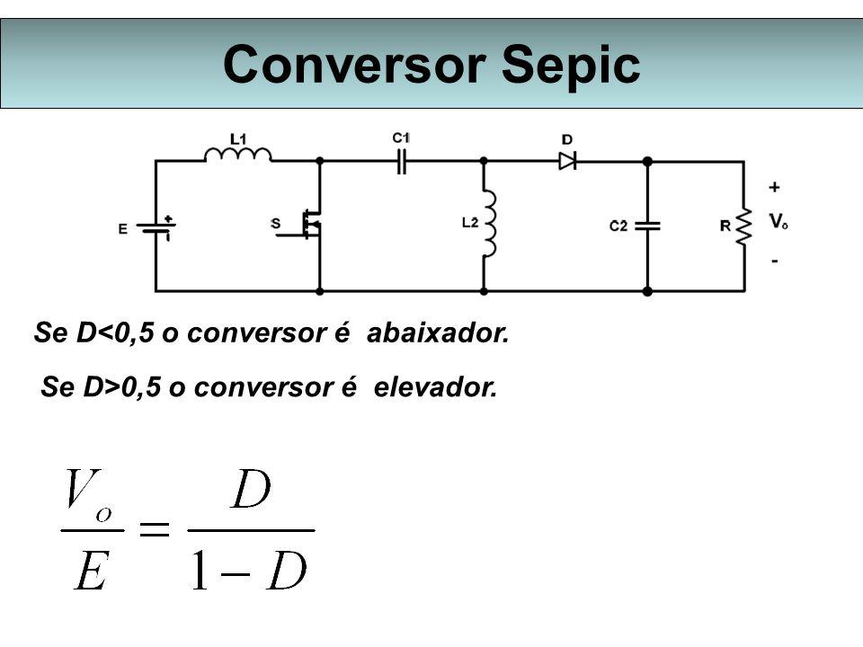 Conversor Sepic Se D<0,5 o conversor é abaixador.