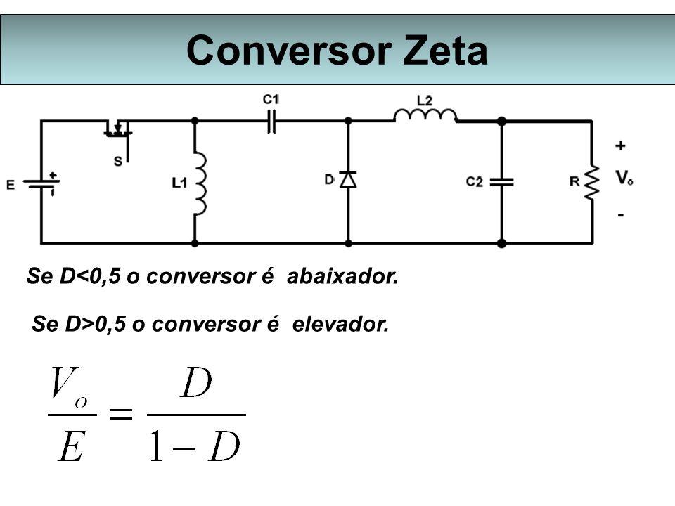 Conversor Zeta Se D<0,5 o conversor é abaixador.