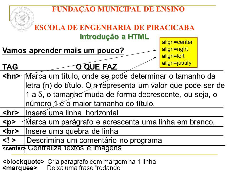 FUNDAÇÃO MUNICIPAL DE ENSINO ESCOLA DE ENGENHARIA DE PIRACICABA