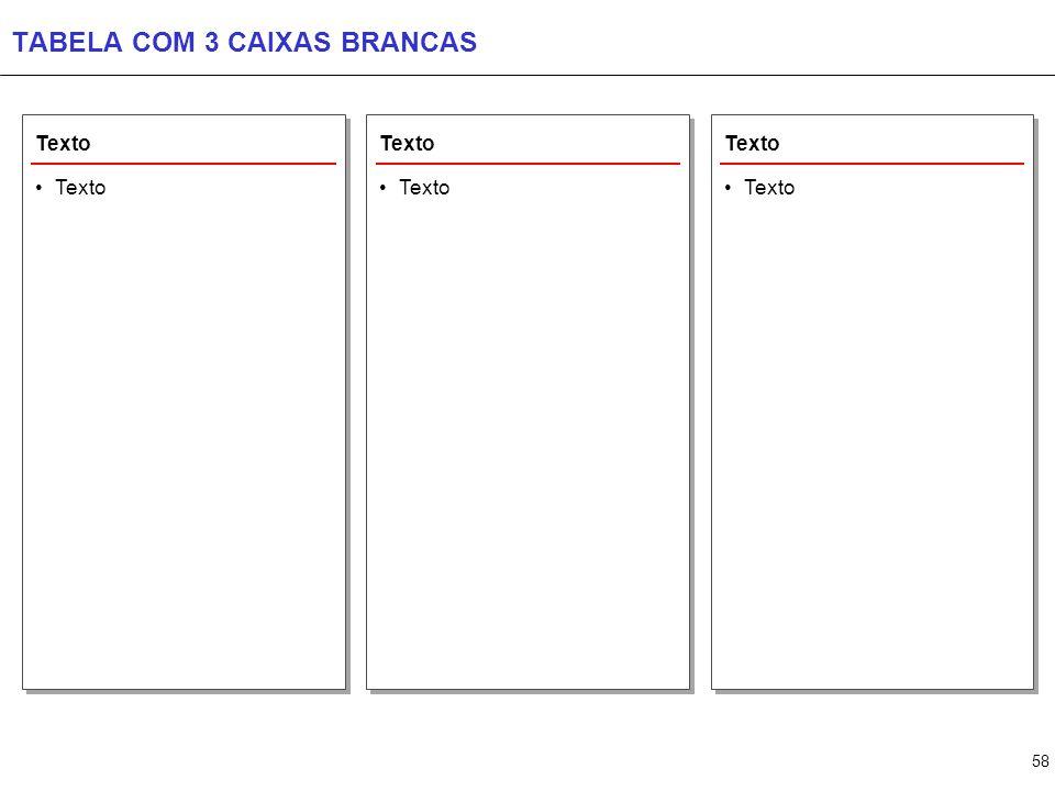 TABELA COM 4 CAIXAS BRANCAS