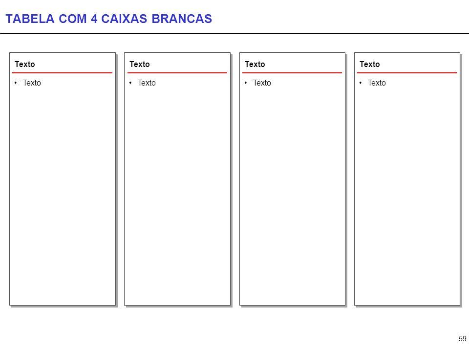 TABELA COM 5 CAIXAS BRANCAS