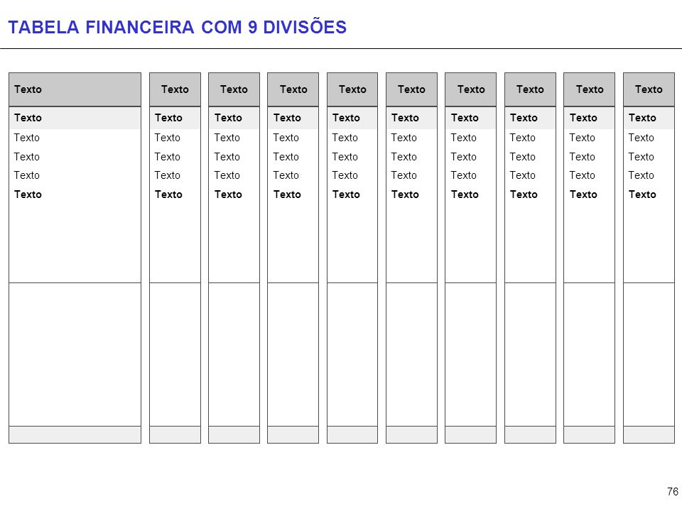 TABELA FINANCEIRA COM 10 DIVISÕES