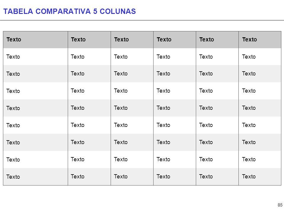 TABELA COMPARATIVA 6 COLUNAS