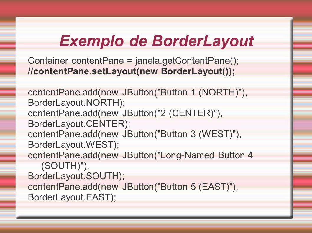 Exemplo de BorderLayout