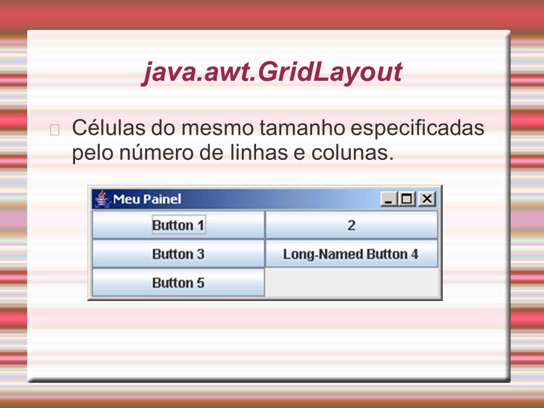 java.awt.GridLayout Células do mesmo tamanho especificadas pelo número de linhas e colunas.