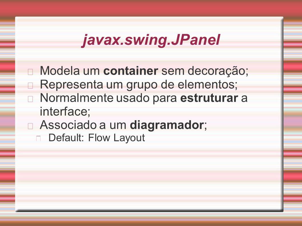 javax.swing.JPanel Modela um container sem decoração;