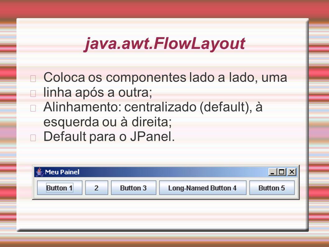 java.awt.FlowLayout Coloca os componentes lado a lado, uma